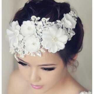 ウェディング フラワーヘッドドレス 髪飾り ヘアアクセサリー お花モチーフ
