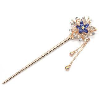 かんざし 一本 和装 着物 アンティーク czダイヤ フラワー 花 簪 ブルー