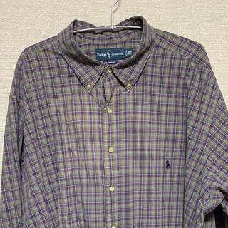 ラルフローレン(Ralph Lauren)のラルフローレン 古着 チェック柄 シャツ パープル グリーン ビッグサイズ(シャツ)
