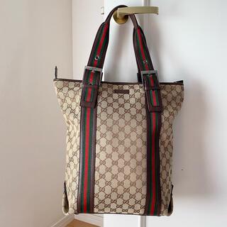 Gucci - グッチ トートバッグ ショルダー GG キャンバス シェリー ウェブライン 美品