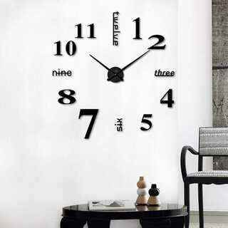壁時計 ウォールステッカー 静音 DIY ブラック【081】