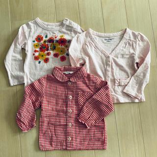 ギャップ(GAP)の女の子 トップス 3点セット 長袖シャツ カーディガン gap ムージョンジョン(Tシャツ/カットソー)