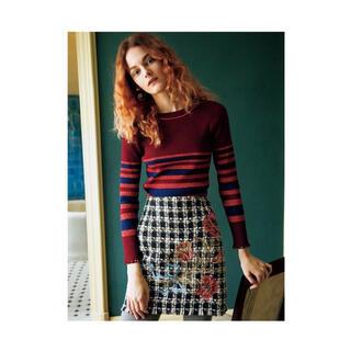 リリーブラウン(Lily Brown)のlily brown  ツイード刺繍台形スカート(ミニスカート)