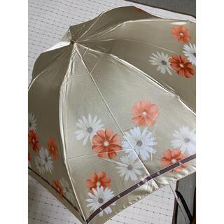 ランバンコレクション(LANVIN COLLECTION)の新品未使用ランバン折り畳み雨傘 軽量コンパクトミニベージュに花柄(傘)