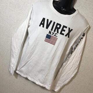 アヴィレックス(AVIREX)のAVIREX アヴィレックス 星条旗 ビッグロゴ サイドロゴ ロングTシャツ L(Tシャツ/カットソー(七分/長袖))