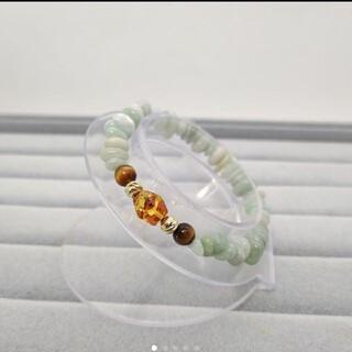 天然石ブレスレット◆天然琥珀(アンバー)◆翡翠◆タイガーアイ(ブレスレット/バングル)