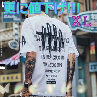 メンズ 爪痕 プリント Tシャツ 白 XL 夏物 大バーゲン 韓国ファッション