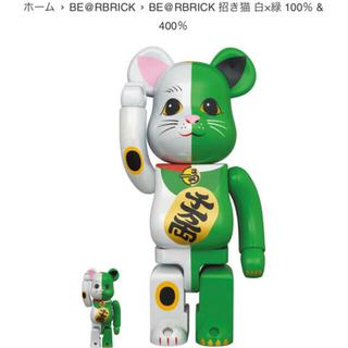 MEDICOM TOY - BE@BRICK 招き猫 緑×白 100% & 400%