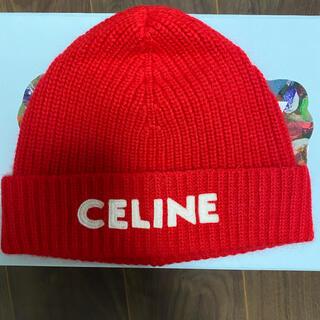 celine - CELINE エンブロイダリー ニット帽 / ウール レッド 希少 ニット帽