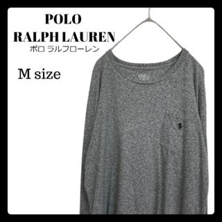 ポロラルフローレン(POLO RALPH LAUREN)のUSA古着 ポロ ラルフローレン 長袖Tシャツ ロンT Mサイズ グレー 刺繍(Tシャツ/カットソー(七分/長袖))