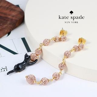 kate spade new york - 【新品♠本物】ケイトスペード 黒猫ロングピアス ピンク