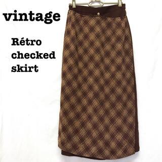 ロキエ(Lochie)の美品【 vintage 】 チェック柄スカート チェックスカート ラップスカート(ロングスカート)