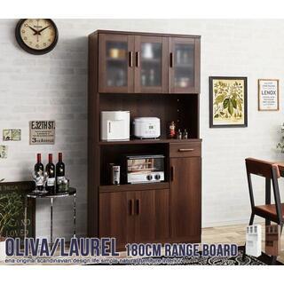 レンジ台 180cm×90cm【ブラウン】キッチン収納/レンジラック/食器棚(キッチン収納)