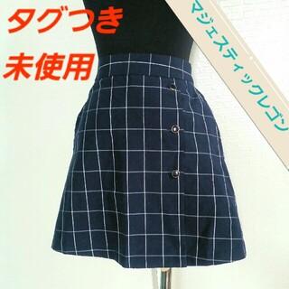 マジェスティックレゴン(MAJESTIC LEGON)の紺 チェック スカート ショートパンツ(キュロット)