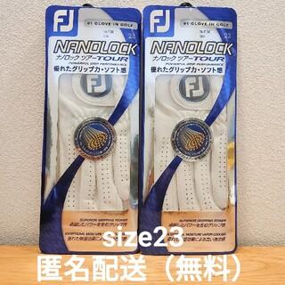 FootJoy - フットジョイ ナノロックツアー ホワイト ゴルフグローブ 2枚 size23