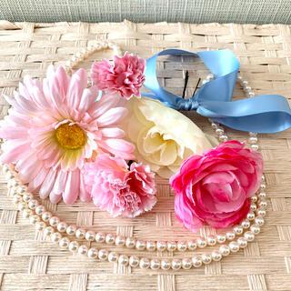 【ハンドメイド新作】お花髪飾り フラワーパーツ ピンク×サムシングブルー