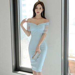 【本日限定セール】ROBE系 オフショルダーチュールキャバドレス ひざ丈 水色