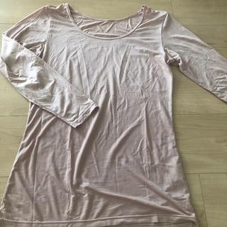 ユニクロ(UNIQLO)のぴーも様専用ヒートテック・白黒ボーダーシャツ UNIQLO  薄ピンク Lサイズ(その他)