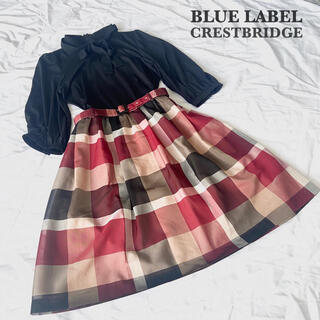 BURBERRY BLUE LABEL - 【美品】 ブルーレーベルクエストブリッジ ワンピース チェック ベルト付き 36
