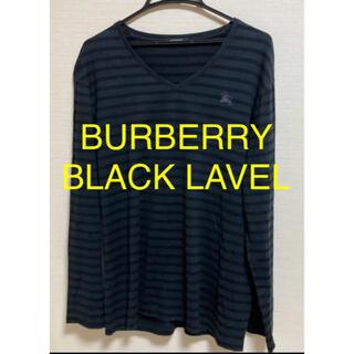 バーバリーブラックレーベル(BURBERRY BLACK LABEL)のBURBERRY BLACK LAVEL ブラック ボーダー ロング Tシャツ(Tシャツ/カットソー(七分/長袖))