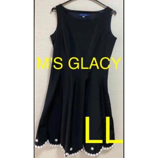 M'S GRACY - M's GLACY 裾 お花 ブラック フレア ワンピース