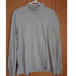 UNIQLO - メンズ ユニクロ シンプル ハイネックロングTシャツ グレー M