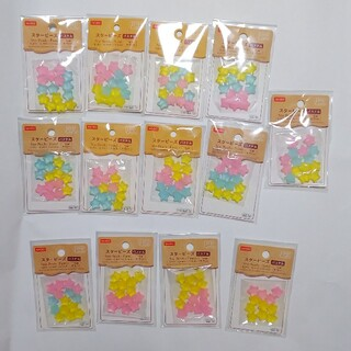 ダイソー★スタービーズ★約15mm★191個★パステル★黄色★水色★ピンク