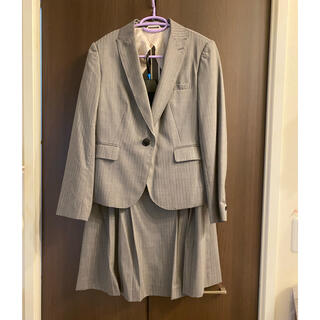 青山 - Nライン スーツ グレー ストライプ スカート ジャケット 2点セット