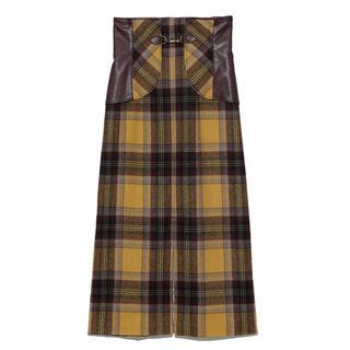 リリーブラウン(Lily Brown)のLilybrown リリーブラウン ビット付き合皮切り替えタイトスカート 黄色(ロングスカート)