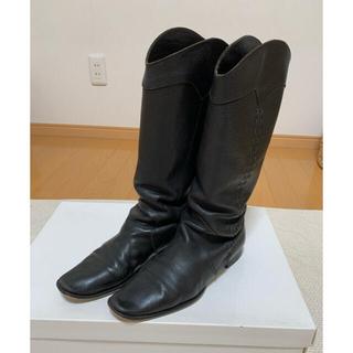 ツモリチサト(TSUMORI CHISATO)のツモリチサト レザー ロングブーツ 黒 23.5(ブーツ)