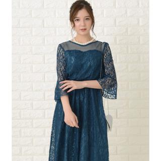 結婚式 ワンピース ドレス パーティードレス 2次会 お呼ばれ ブルー グリーン