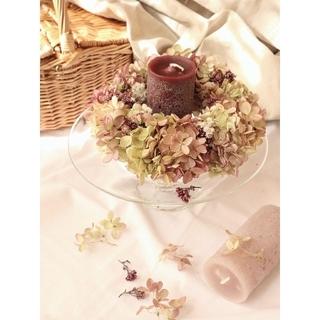秋の七草藤袴が香る秋色水無月紫陽花のキャンドルリース。ドライフラワーリース。(リース)