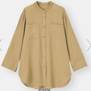 GU - GU リネンブレンドバンドカラーシャツ