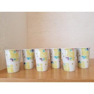 クタニセイヨウ(九谷青窯)の九谷焼 ペア フリーカップ 色紙椿 6客(食器)