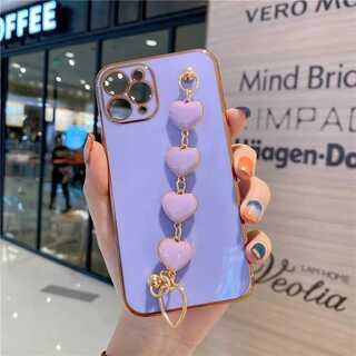 パープル iPhone12ケース ハートチェーン スマホカバー 人気おしゃれ 紫