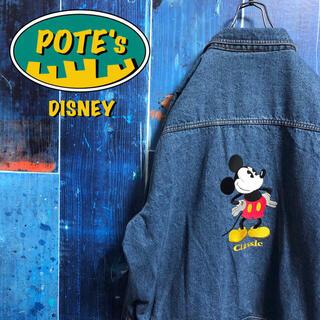 Disney - 【ディズニー】ミッキービッグキャラ刺繍・刺繍ロゴデニムジャケット 90s