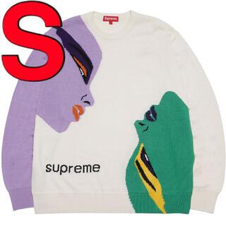 """Supreme - Supreme Faces Sweater """"Cream"""" 白 S"""