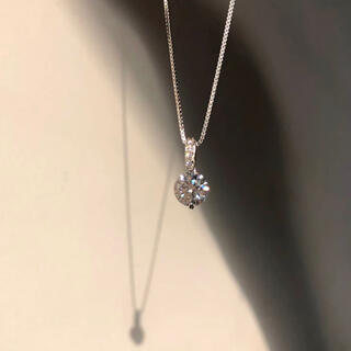 高品質純銀シルバー925 最高級ジルコニア 定番一粒czダイヤ ネックレス