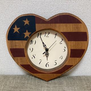 アメリカンカントリー 掛け時計 星条旗 ハート