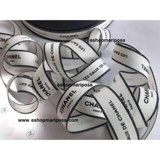 CHANEL - シャネルリボン🎀 1m コットン製 Parisシリーズ ホワイト地に黒ロゴ 綿