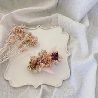 headdress① pink beige(ドライフラワー)