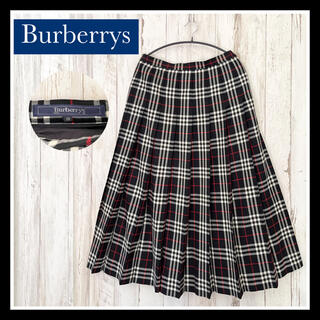 バーバリー(BURBERRY)の【美品】バーバリー ノバチェック プリーツスカート ブラック 大きいサイズ(ロングスカート)