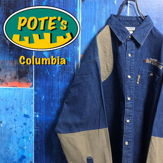Columbia - 【コロンビア】猟銃刺繍ロゴ・ロゴタグデニム切替ハンティングシャツ 90s
