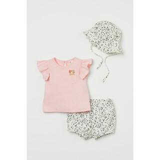 エイチアンドエム(H&M)のH&M 90㎝ コットン3アイテムセット Tシャツ ショートパンツ  帽子(Tシャツ/カットソー)