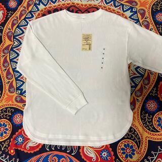 MUJI (無印良品) - 【新品】【無印良品】オフ白 ミニワッフル編み リブ付きTシャツ【M とLサイズ】