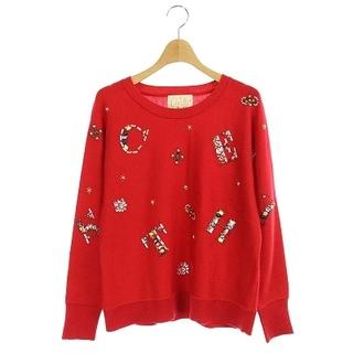 チェスティ(Chesty)のチェスティ ニット セーター ロゴ ビジュー装飾 長袖 F 赤 レッド(ニット/セーター)