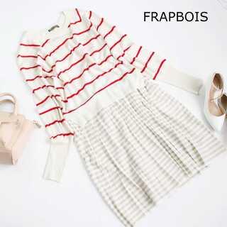 フラボア(FRAPBOIS)のフラボア★綿麻 プリーツ ボーダー ニット ワンピース 1(M) 白×赤(ひざ丈ワンピース)