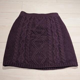 リリーブラウン(Lily Brown)のLily Brown ケーブルニットミニスカート 紫/パープル フリーサイズ(ミニスカート)