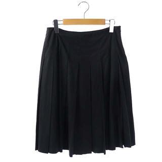 ミュウミュウ(miumiu)のミュウミュウ miumiu プリーツスカート ひざ丈 40 黒 ブラック(ひざ丈スカート)