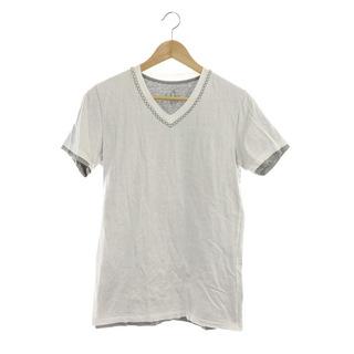 AKM - エーケーエム AKM VネックTシャツ カットソー 半袖 L 白 グレー